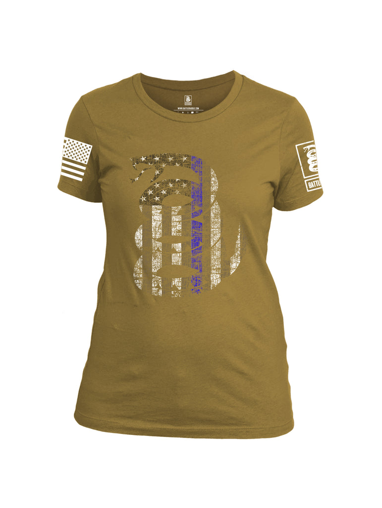 Battleraddle Official Snake American Flag Blue Line White Sleeve Print Womens Cotton Crew Neck T Shirt
