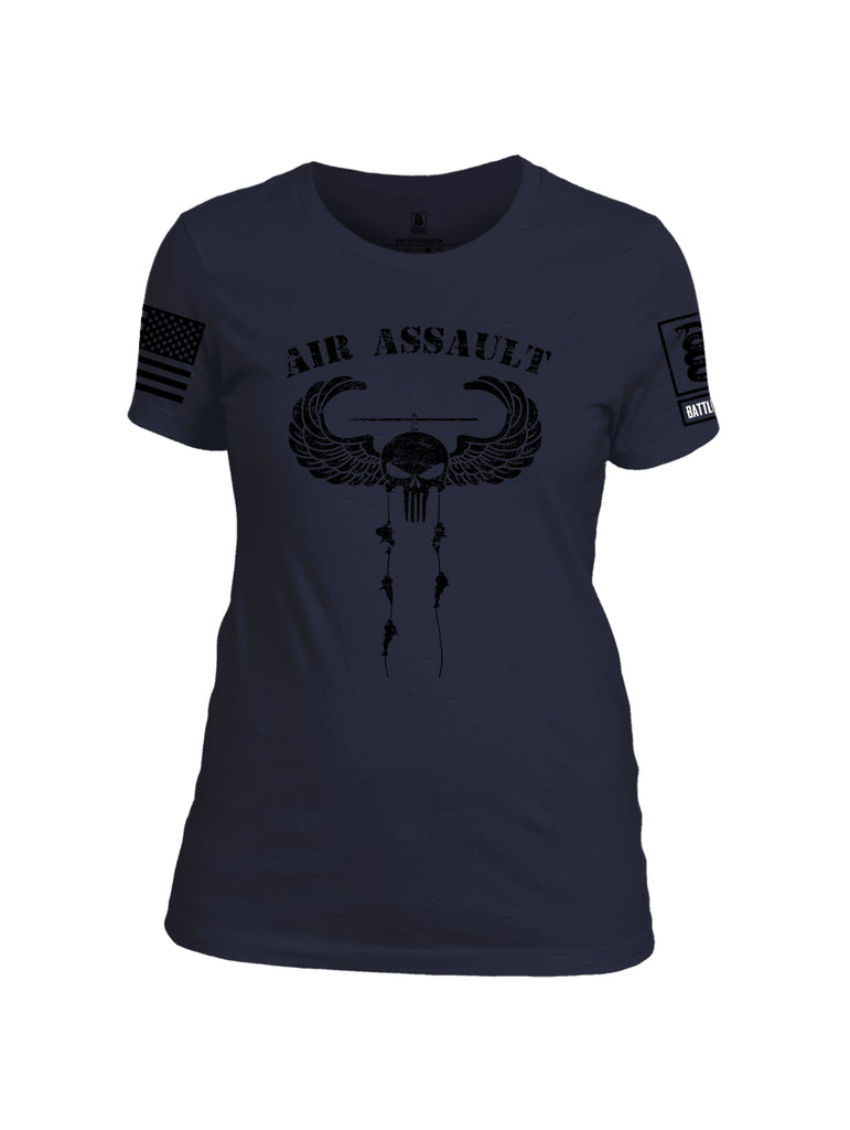 Battleraddle Air Assault Expounder Black Sleeve Print Womens Cotton Crew Neck T Shirt