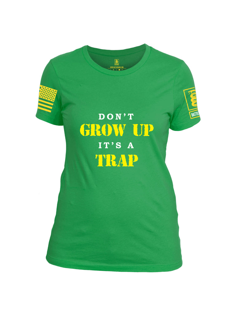 Battleraddle Dont Grow Up Its A Trap Yellow Sleeve Print Womens Cotton Crew Neck T Shirt