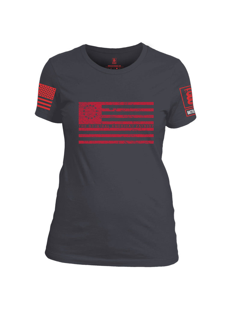 Battleraddle The Original American Patriot Flag Red Sleeve Print Womens Cotton Crew Neck T Shirt