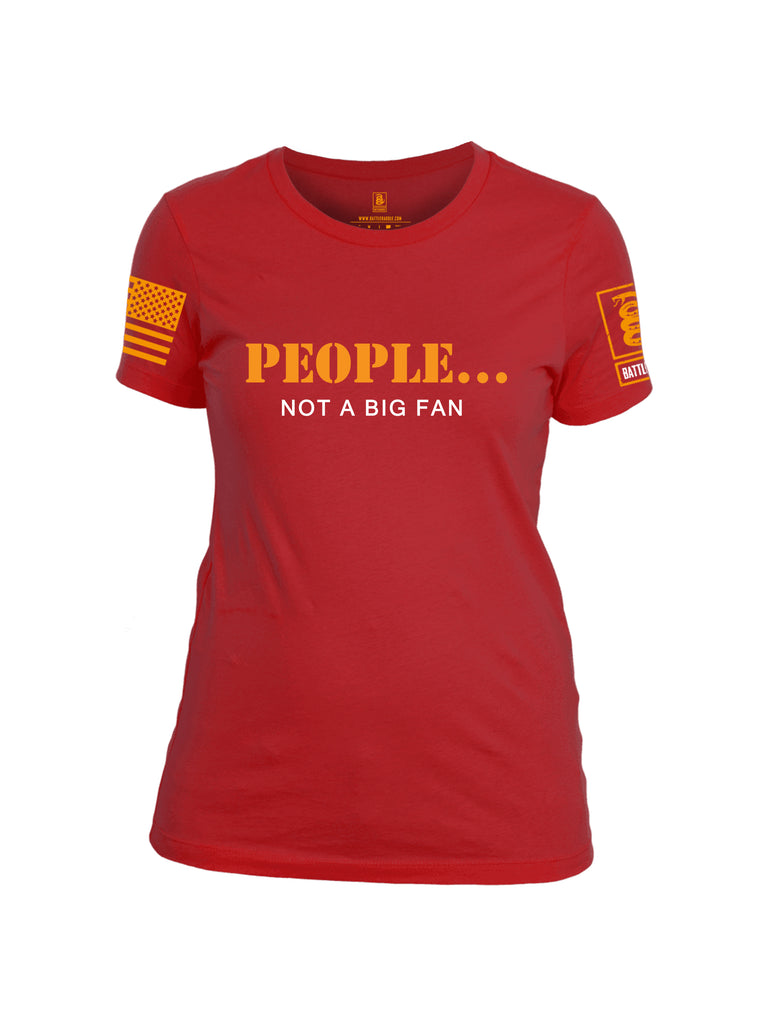 Battleraddle People Not a Big Fan Orange Sleeve Print Womens Cotton Crew Neck T Shirt