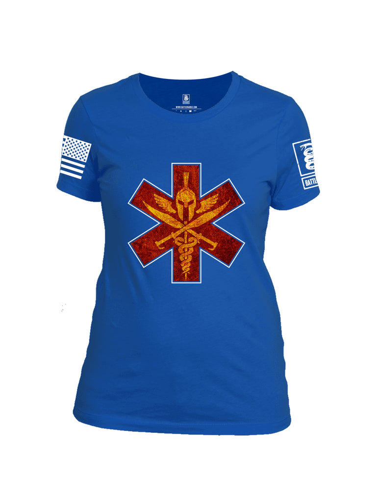 Battleraddle Spartan Cross White Sleeve Print Womens Cotton Crew Neck T Shirt