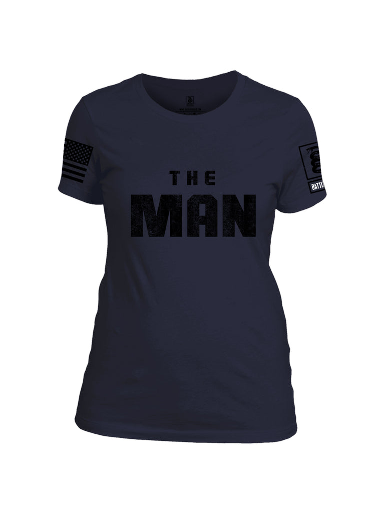 Battleraddle The Man Black Sleeve Print Womens Cotton Crew Neck T Shirt