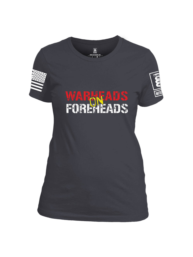 Battleraddle Warheads On Foreheads White Sleeve Print Womens Cotton Crew Neck T Shirt