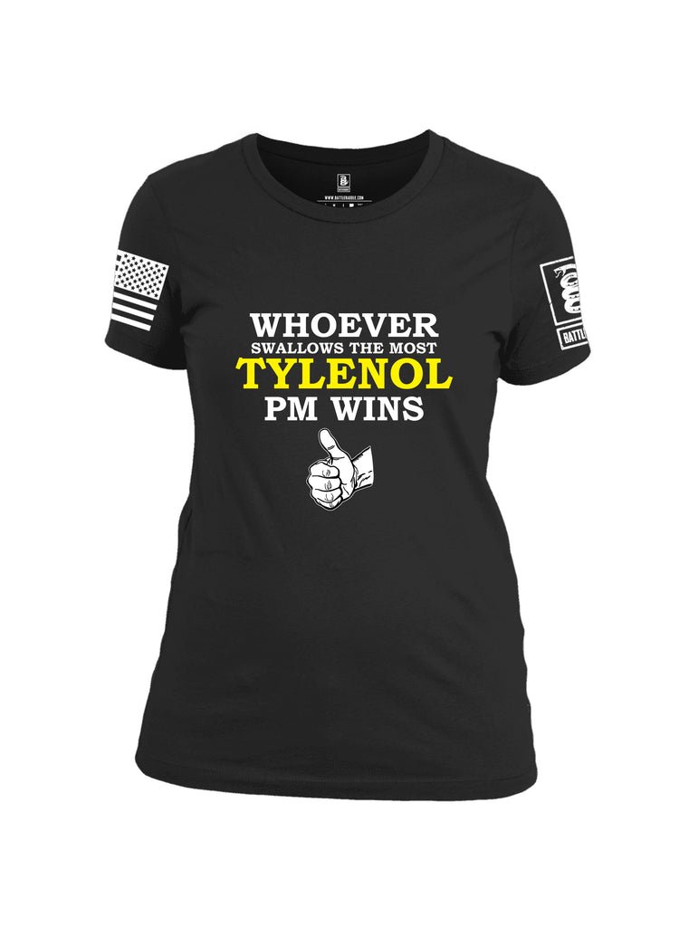 Battleraddle Whoever Swallows The Most Tylenol PM Wins White Sleeve Print Womens Cotton Crew Neck T Shirt