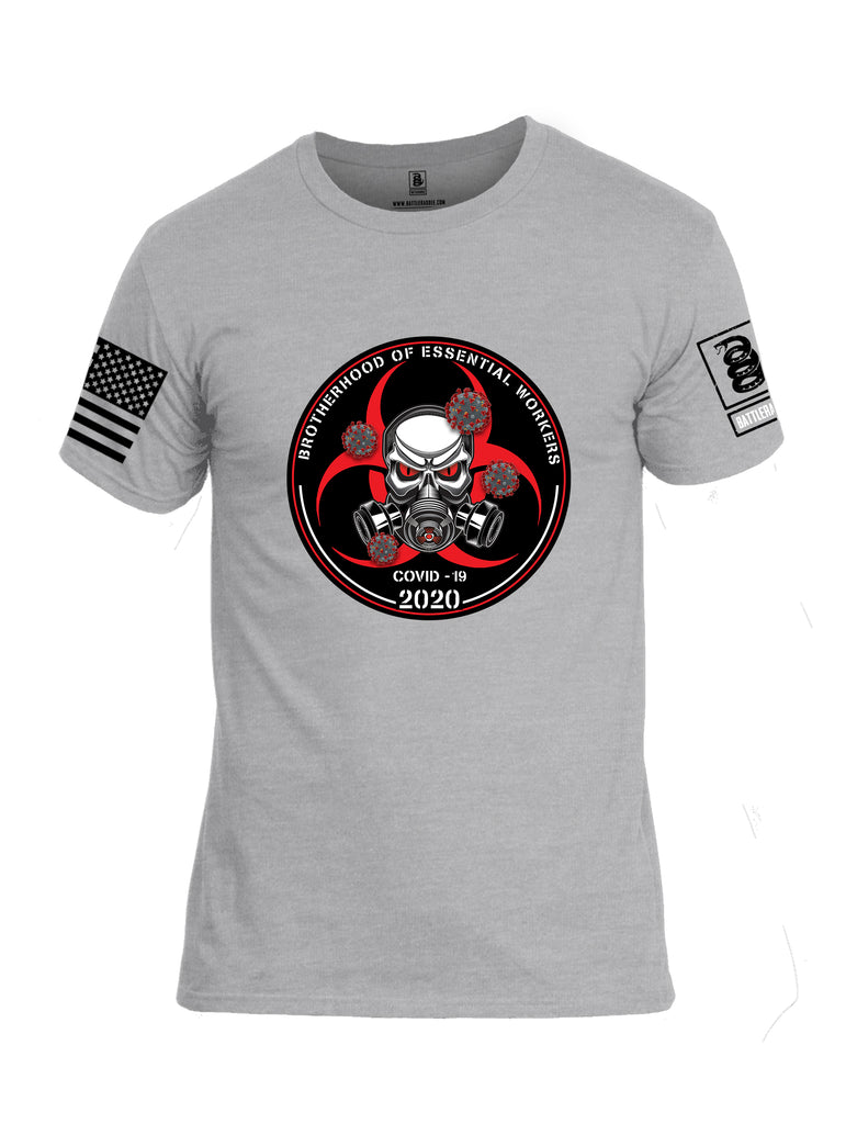Battleraddle Brotherhood Biohazard Essential Workers COVID 19 2020 Black Sleeve Print Mens Cotton Crew Neck T Shirt