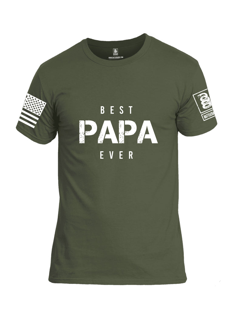 Battleraddle Best PAPA Ever White Sleeve Print Mens Cotton Crew Neck T Shirt