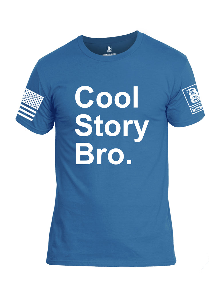 Battleraddle Cool Story Bro White Sleeve Print Mens Cotton Crew Neck T Shirt