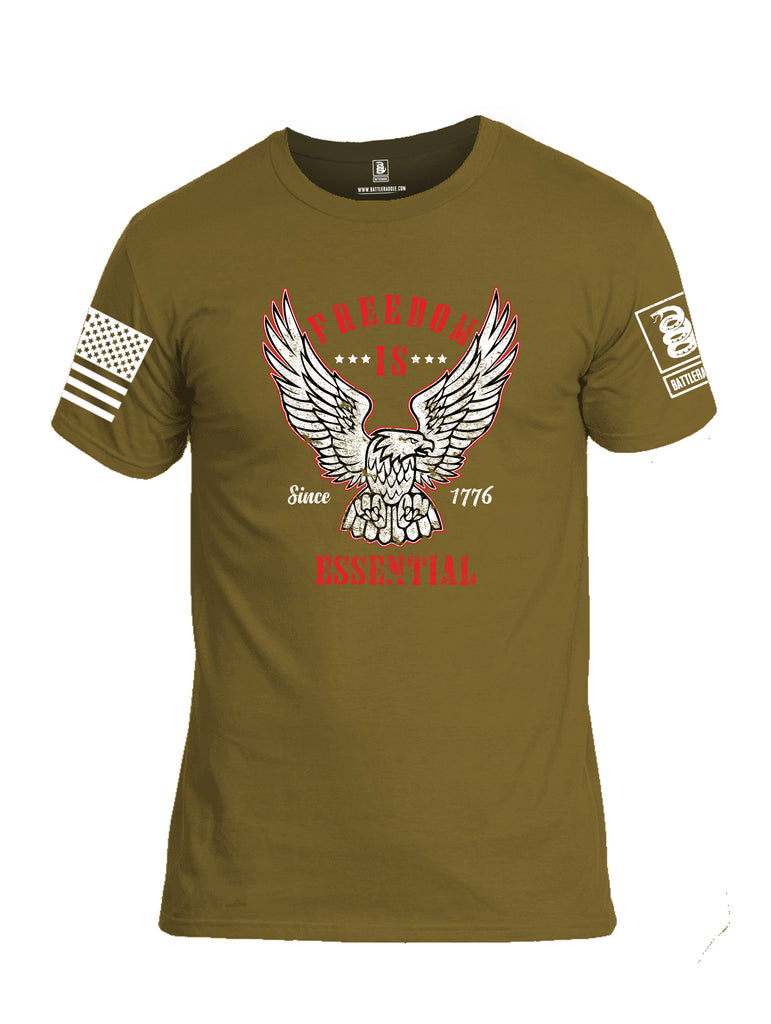 Battleraddle Freedom Is Essential Since 1776 White Sleeve Print Mens Cotton Crew Neck T Shirt