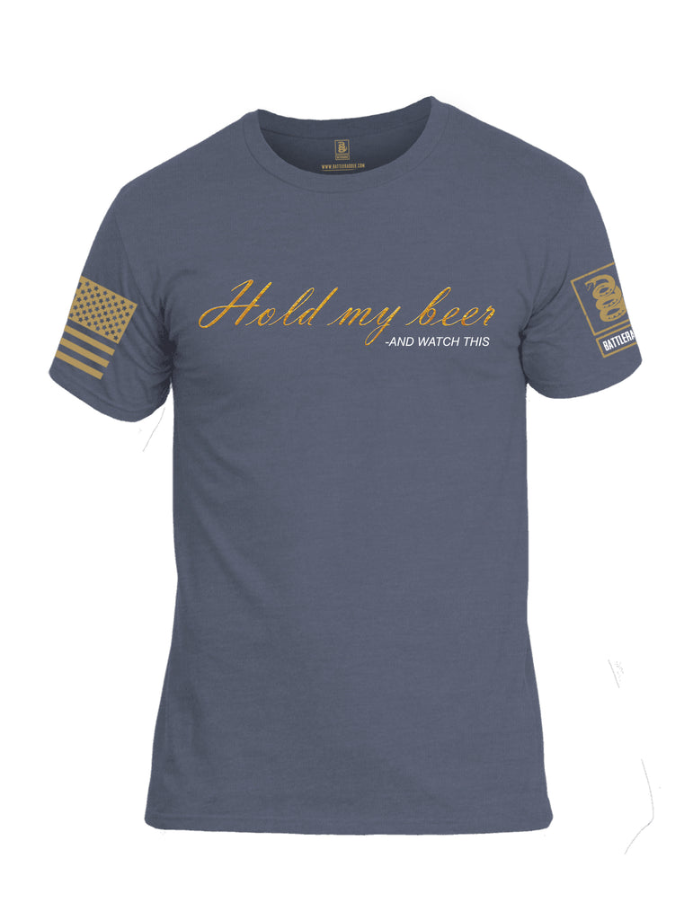 Battleraddle Hold My Beer And Watch This Brass Sleeve Print Mens Cotton Crew Neck T Shirt