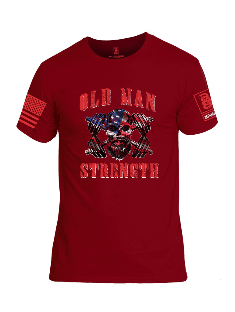 Battleraddle Old Man Strength Red Sleeve Print Mens Cotton Crew Neck T Shirt