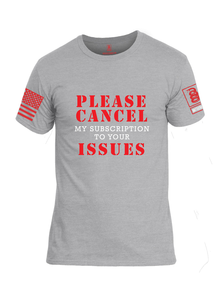 Battleraddle Please Cancel My Subscription To Your Issues Red Sleeve Print Mens Cotton Crew Neck T Shirt