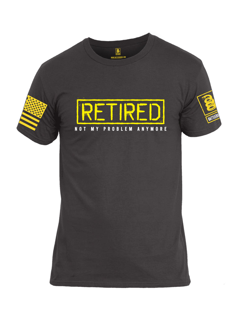 Battleraddle Retired Not My Problem Anymore Yellow Sleeve Print Mens Cotton Crew Neck T Shirt