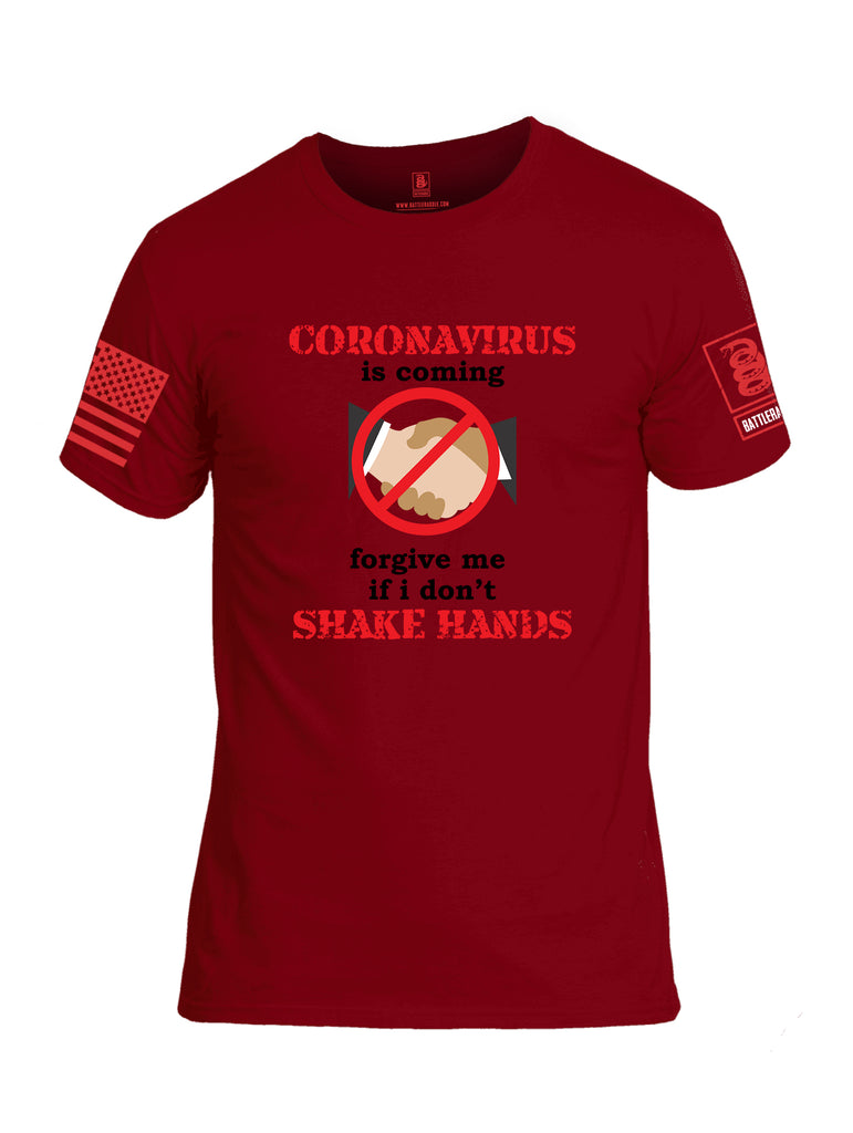 Battleraddle Corona Virus Is Coming Forgive Me If I Dont Shake Hands Red Sleeve Print Mens Cotton Crew Neck T Shirt
