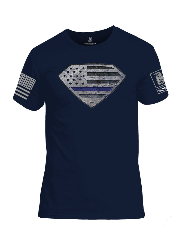 Battleraddle Super USA Flag Blue Line Grey Sleeve Print Mens Cotton Crew Neck T Shirt