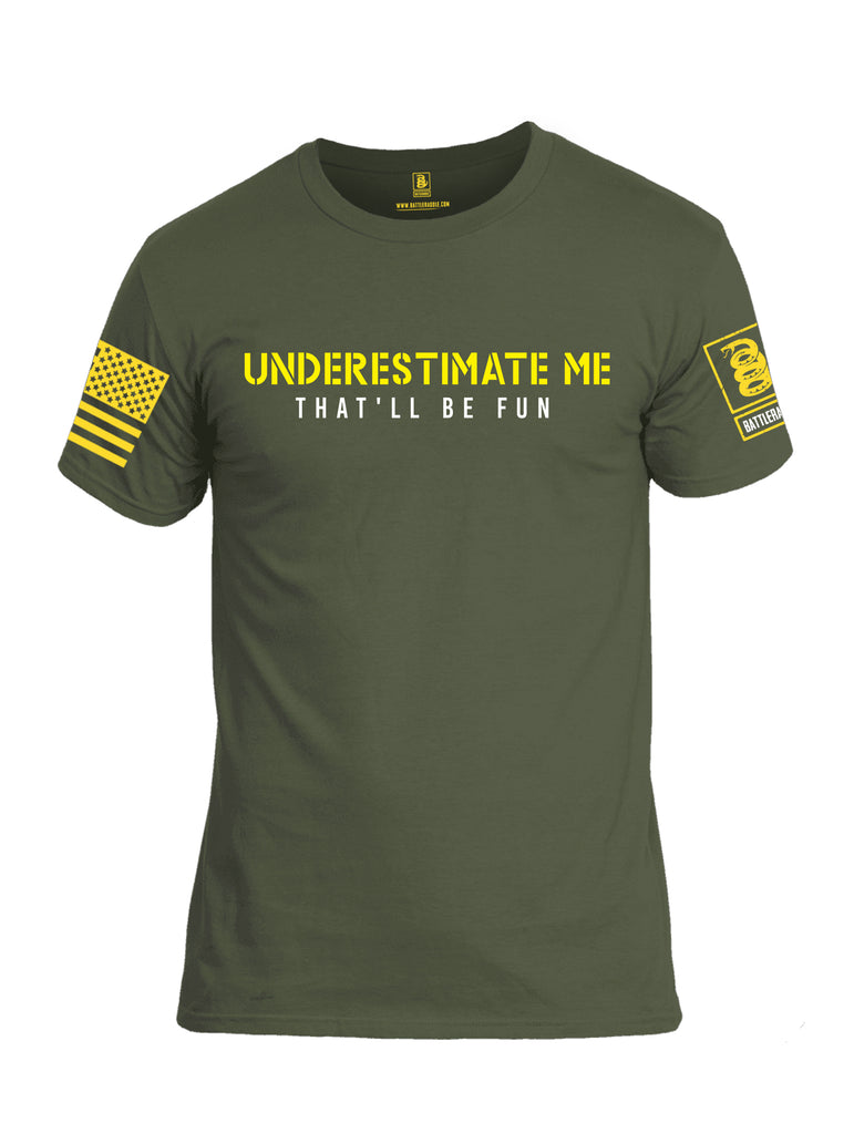 Battleraddle Underestimate Me That Will Be Fun Yellow Sleeve Print Mens Cotton Crew Neck T Shirt