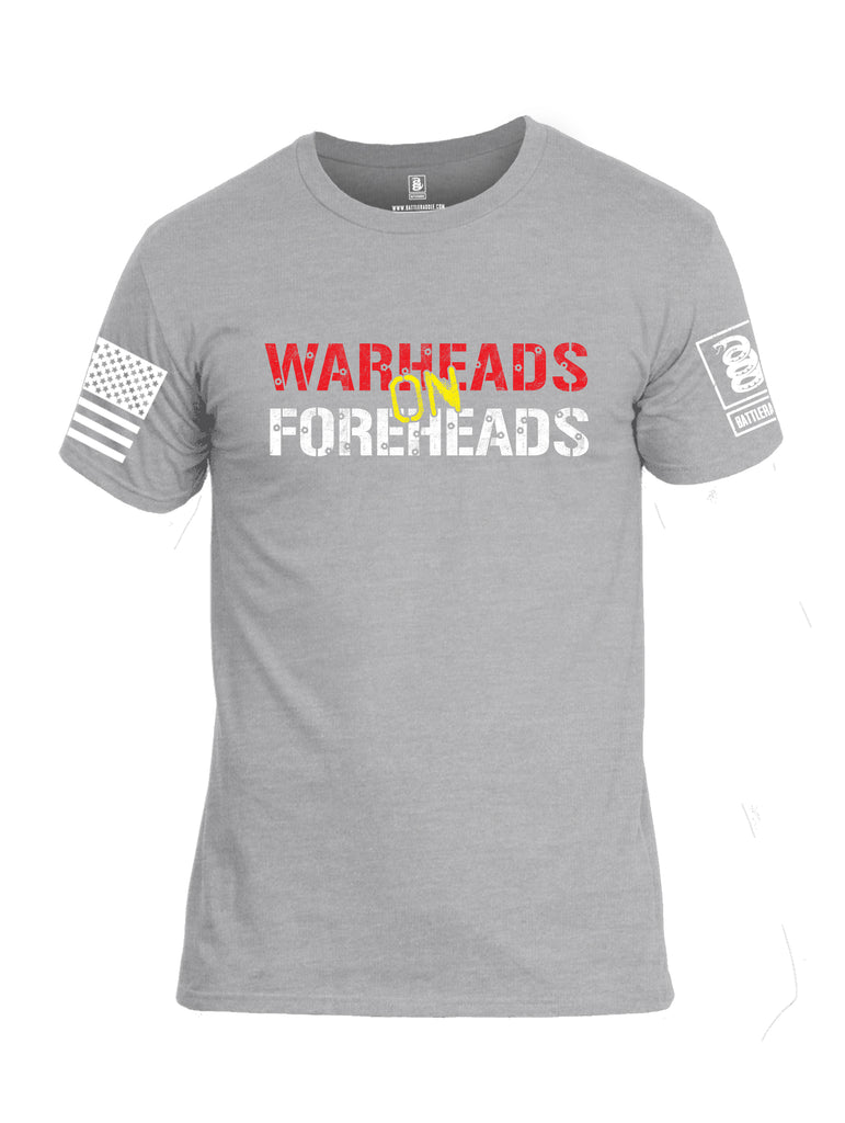 Battleraddle Warheads On Foreheads White Sleeve Print Mens Cotton Crew Neck T Shirt
