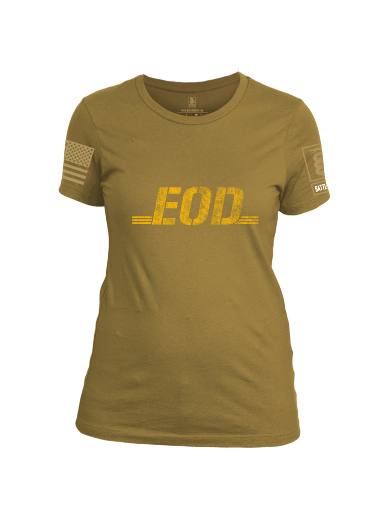 Battleraddle EOD Gold Brass Sleeve Print Womens Cotton Crew Neck T Shirt