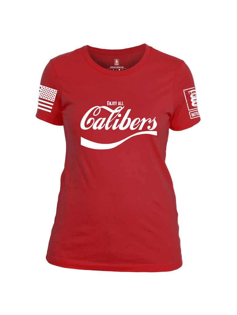 Battleraddle Enjoy All Calibers White Sleeve Print Womens Cotton Crew Neck T Shirt