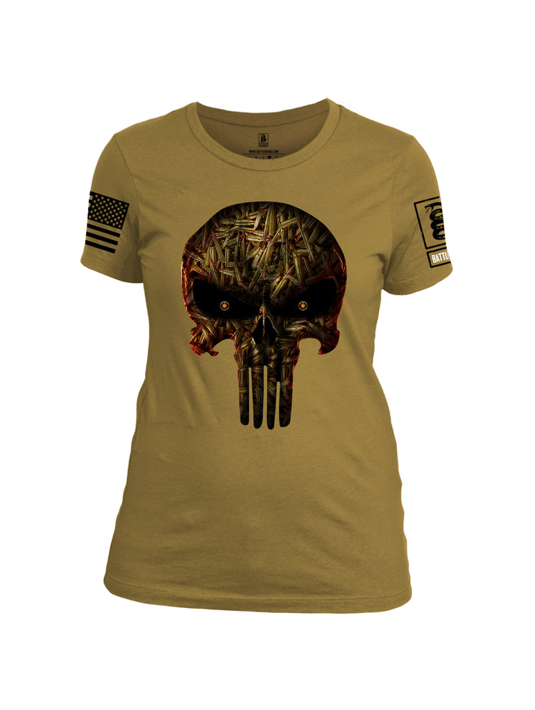 Battleraddle Expounder Bullet Rounds Black Sleeve Print Womens Cotton Crew Neck T Shirt