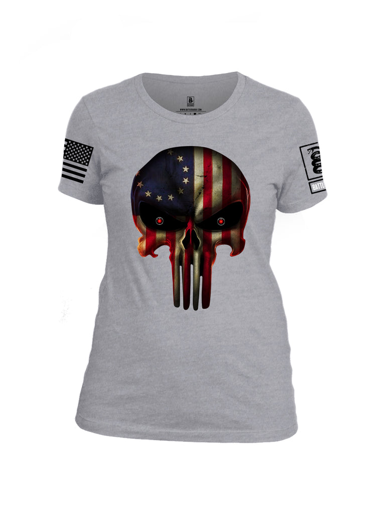 Battleraddle Expounder Colony Flag Black Sleeve Print Womens Cotton Crew Neck T Shirt