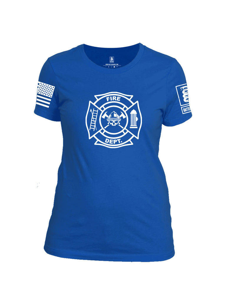 Battleraddle Fire Department White Sleeve Print Womens Cotton Crew Neck T Shirt