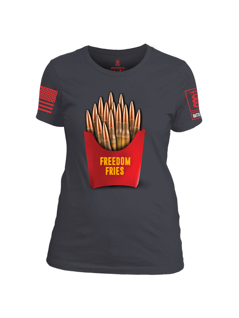 Battleraddle Freedom Fries Red Sleeve Print Womens Cotton Crew Neck T Shirt