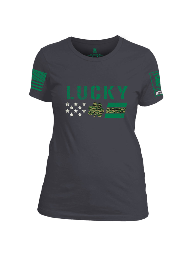 Battleraddle Lucky Leaf Green Sleeve Print Womens Cotton Crew Neck T Shirt