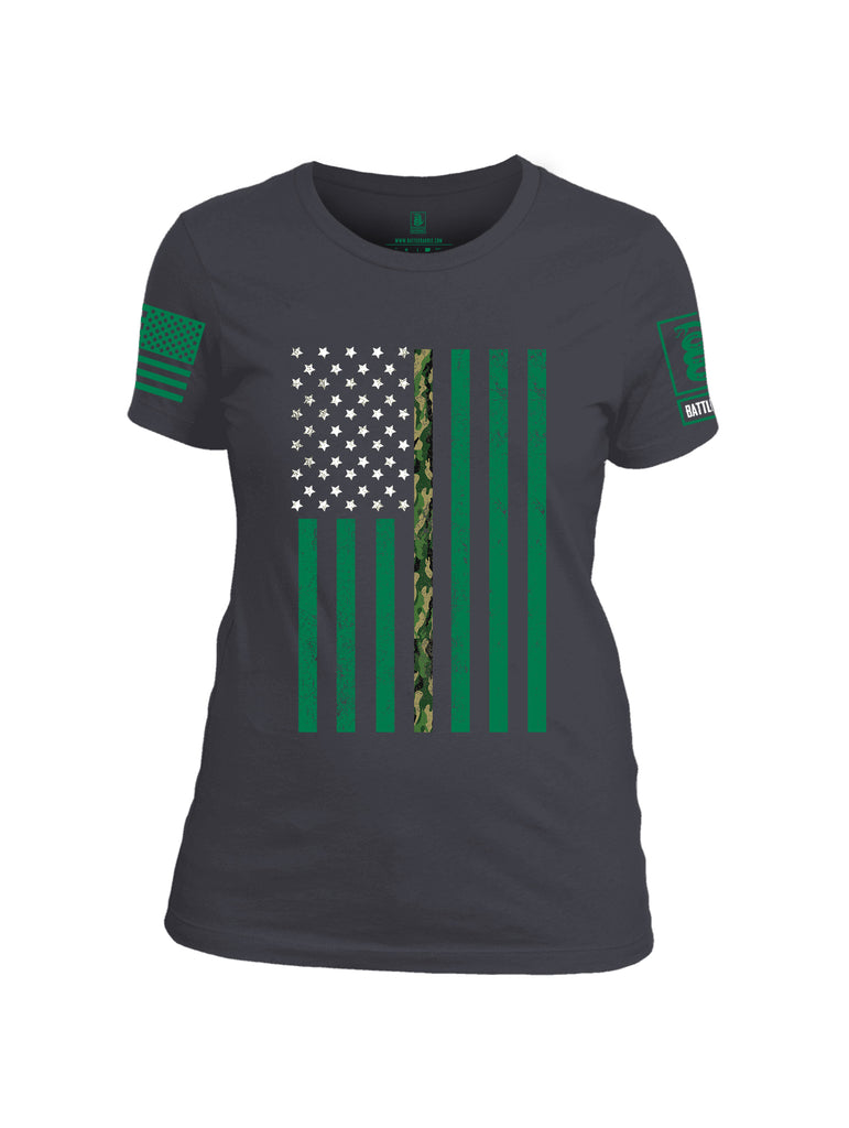 Battleraddle Patricks Camo Flag Green Sleeve Print Womens Cotton Crew Neck T Shirt