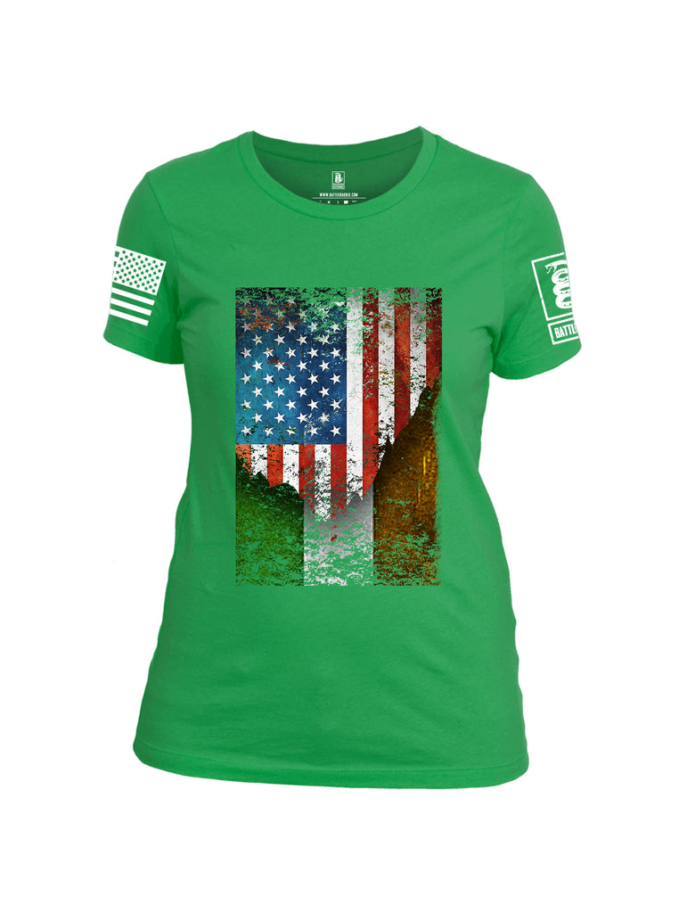 Battleraddle American Irish Flag White Sleeve Print Womens Cotton Crew Neck T Shirt