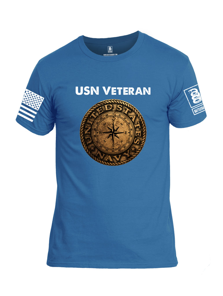 Battleraddle USN Veteran Compass White Sleeve Print Mens Cotton Crew Neck T Shirt