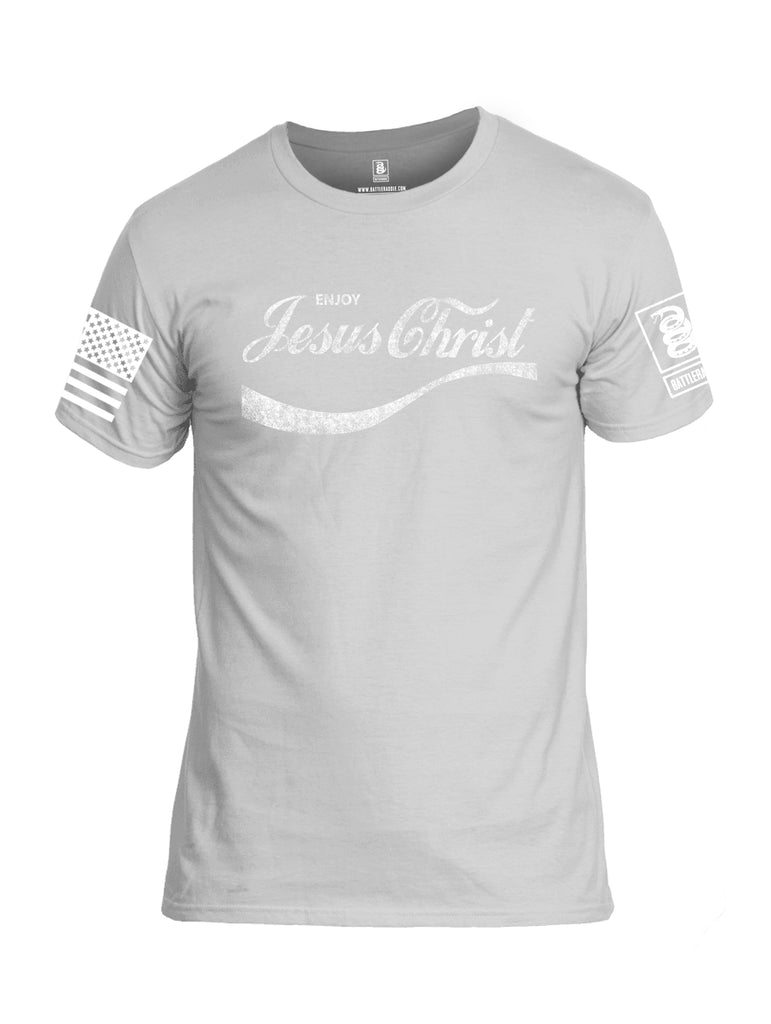 Battleraddle Enjoy Jesus Christ White Sleeve Print Mens Cotton Crew Neck T Shirt