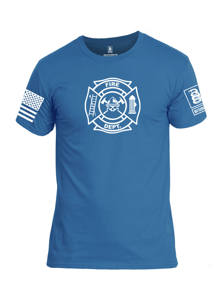 Battleraddle Fire Department White Sleeve Print Mens Cotton Crew Neck T Shirt