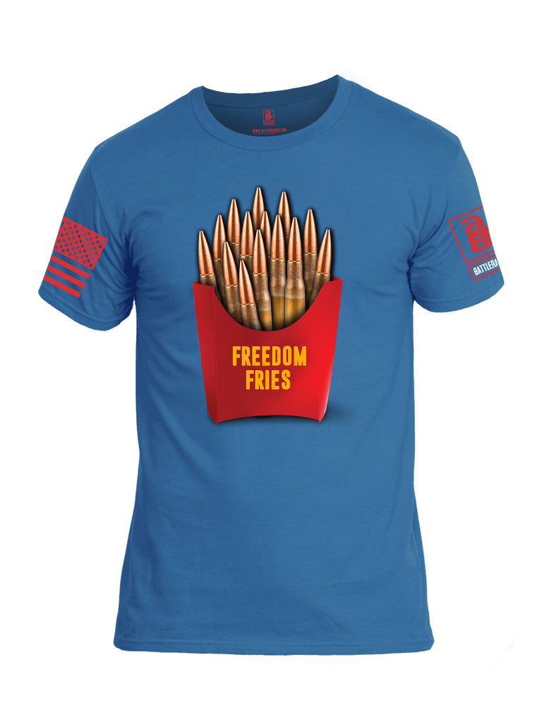 Battleraddle Freedom Fries Red Sleeve Print Mens Cotton Crew Neck T Shirt