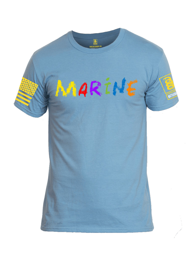 Battleraddle Marine Yellow Sleeve Print Mens Cotton Crew Neck T Shirt