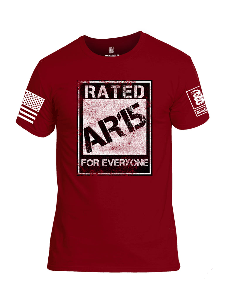 Battleraddle Rated AR15 For Everyone White Sleeve Print Mens Cotton Crew Neck T Shirt