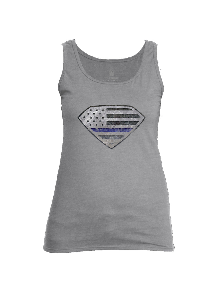 Battleraddle Super USA Flag Blue Line Womens Cotton Tank Top