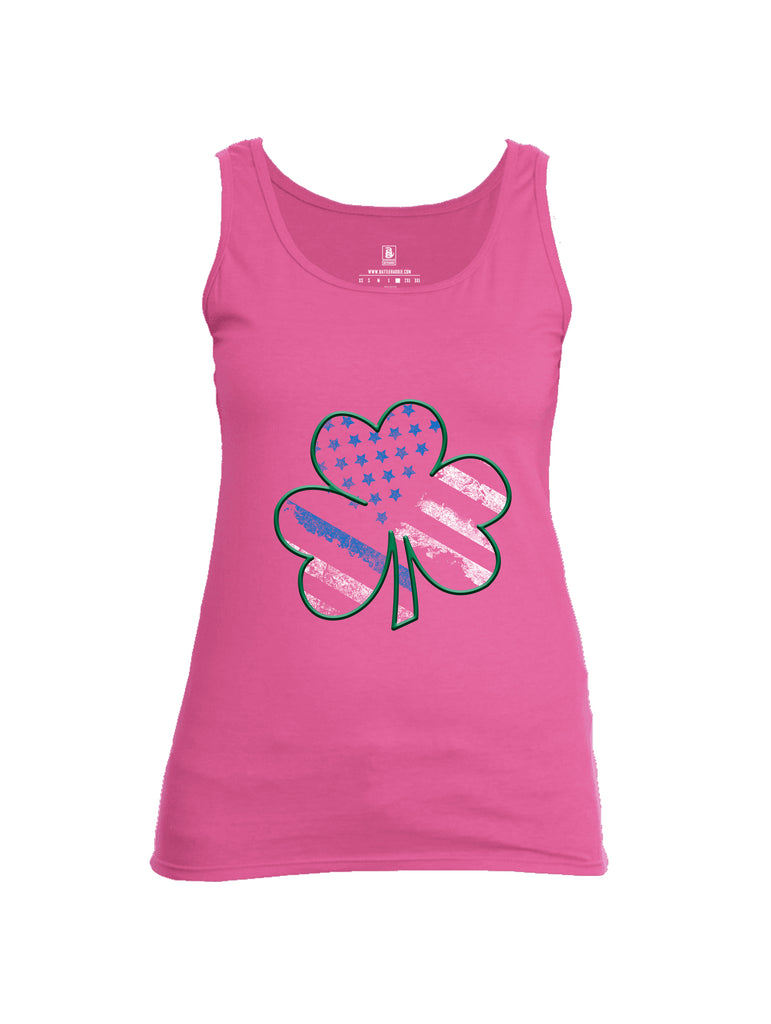 Battleraddle Blue Line Clover Womens Cotton Tank Top