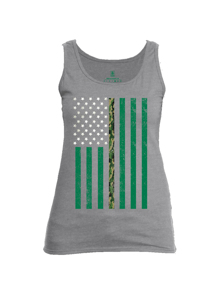 Battleraddle Patricks Camo Flag Womens Cotton Tank Top