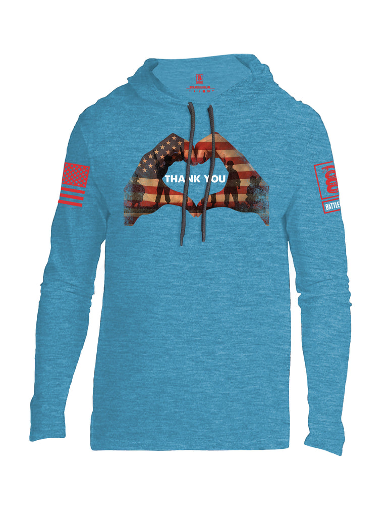 Battleraddle Thank You Flag Heart Red Sleeve Print Mens Thin Cotton Lightweight Hoodie