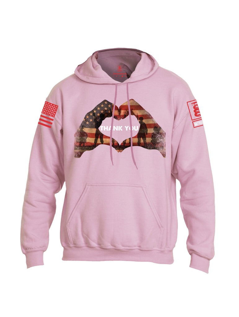 Battleraddle Thank You Flag Heart Red Sleeve Print Mens Blended Hoodie With Pockets