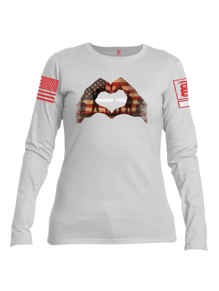 Battleraddle Thank You Flag Heart Red Sleeve Print Womens Cotton Long Sleeve Crew Neck T Shirt