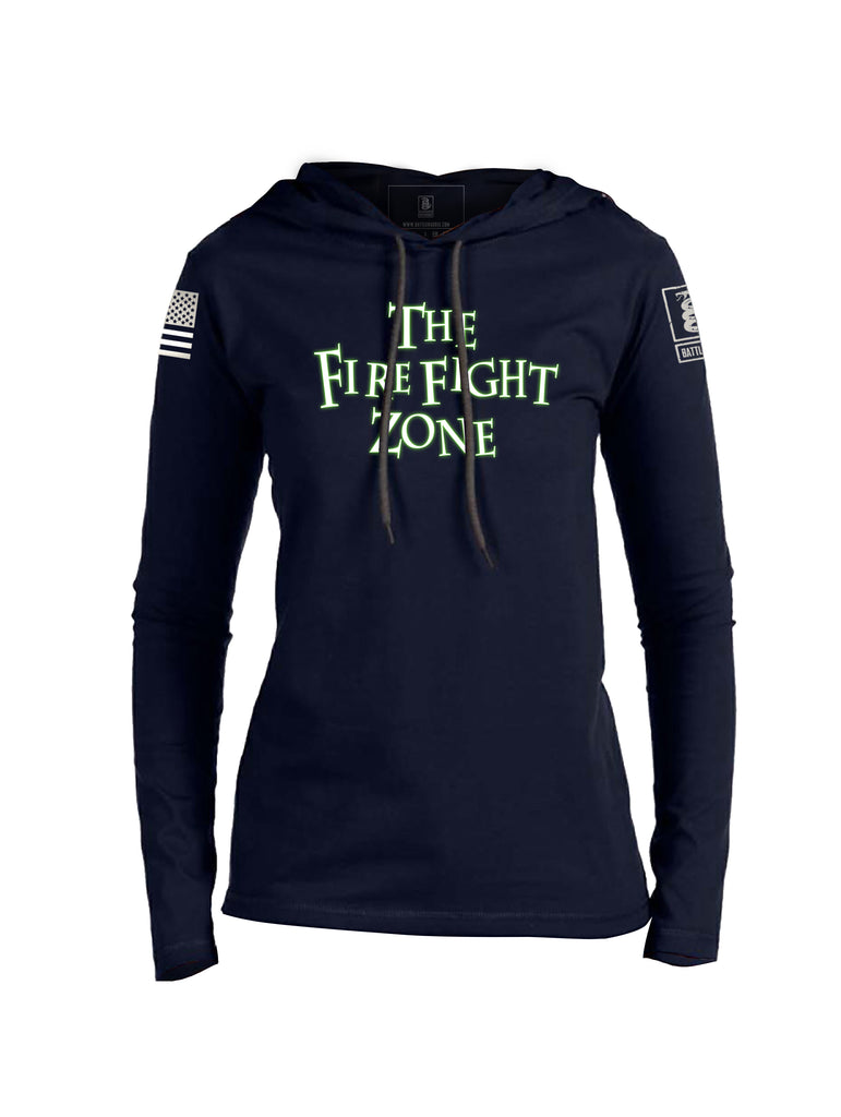 Battleraddle The Fire Fight Zone Womens Thin Cotton Lightweight Hoodie