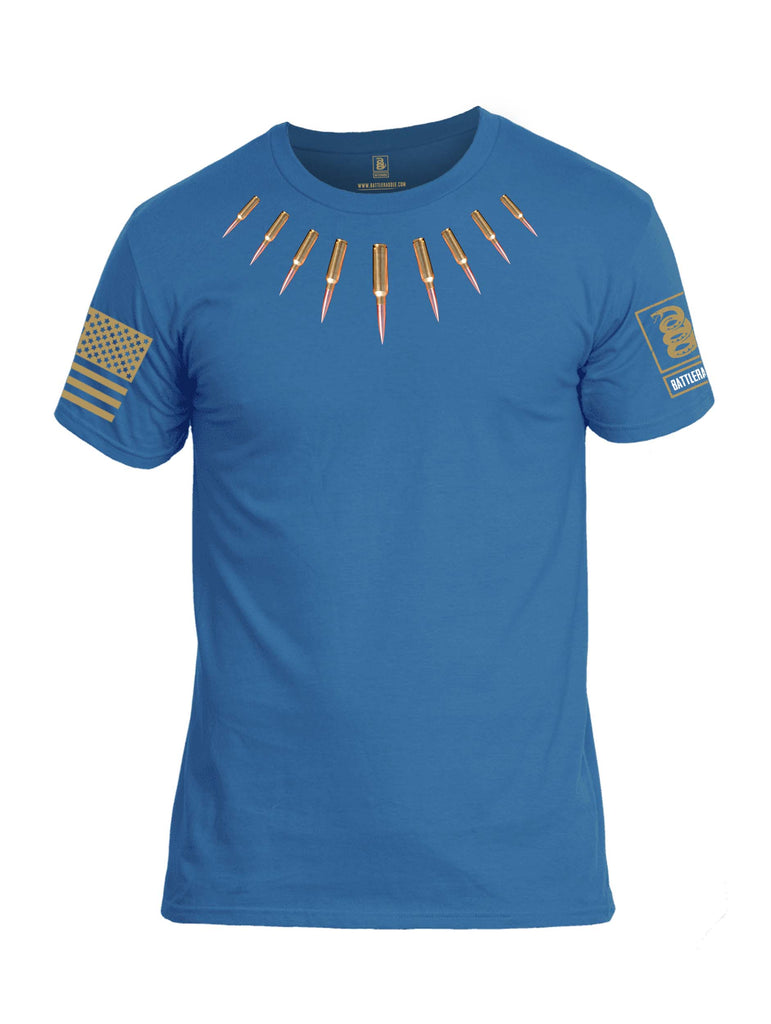 Battleraddle The Original Bullet Panther Brass Bullet Teeth Tooth Necklace Pendant Brass Sleeve Print Mens Cotton Crew Neck T Shirt