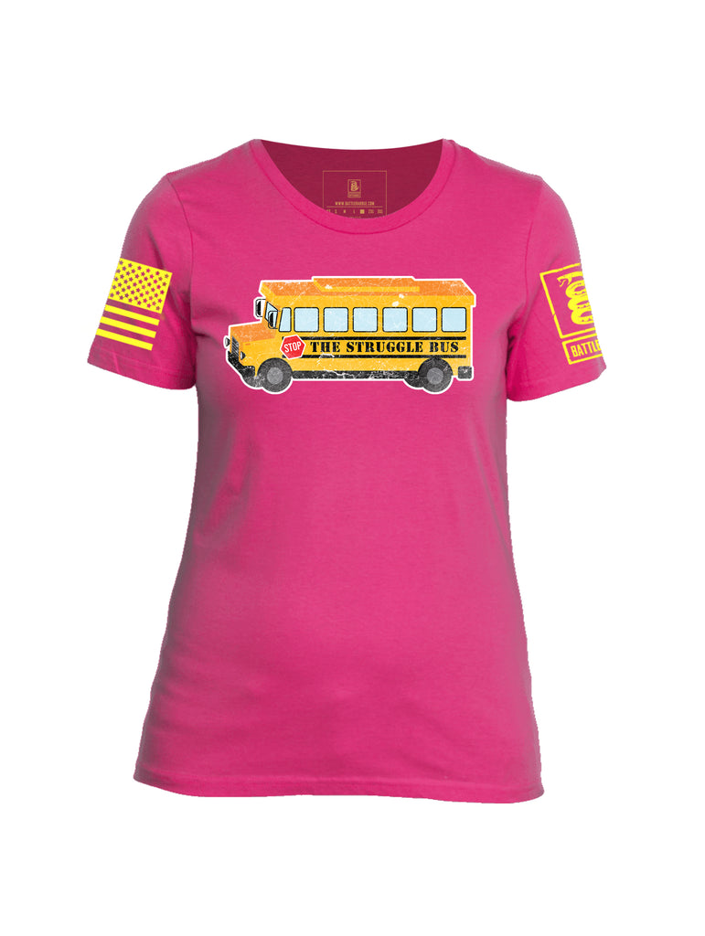 Battleraddle The Struggle Bus Yellow Sleeve Print Womens Cotton Crew Neck T Shirt