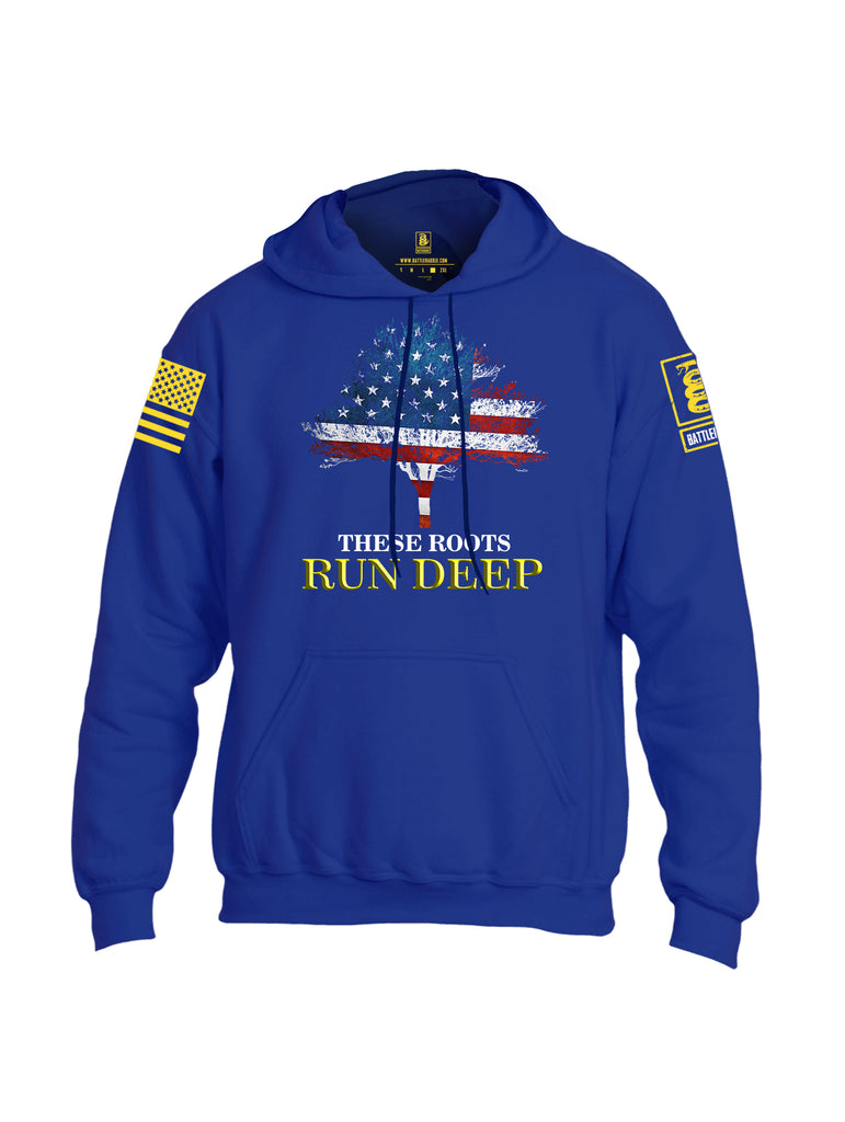 Battleraddle These Roots Run Deep Yellow Sleeve Print Mens Blended Hoodie With Pockets