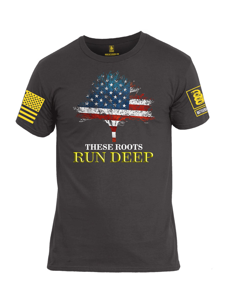 Battleraddle These Roots Run Deep Yellow Sleeve Print Mens Cotton Crew Neck T Shirt