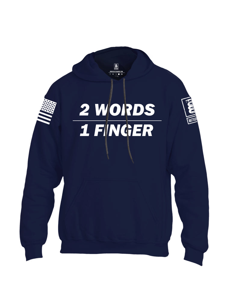 Battleraddle 2 Words 1 Finger White Sleeve Print Mens Blended Hoodie With Pockets