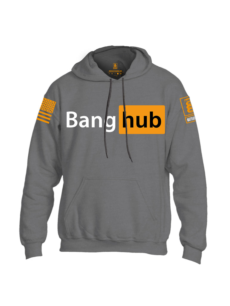 Battleraddle Bang Hub Orange Sleeve Print Mens Blended Hoodie With Pockets