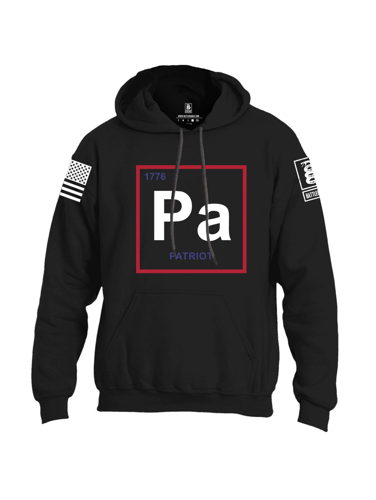 Battleraddle Periodic Table PA 1776 Patriotic White Sleeve Print Mens Blended Hoodie With Pockets